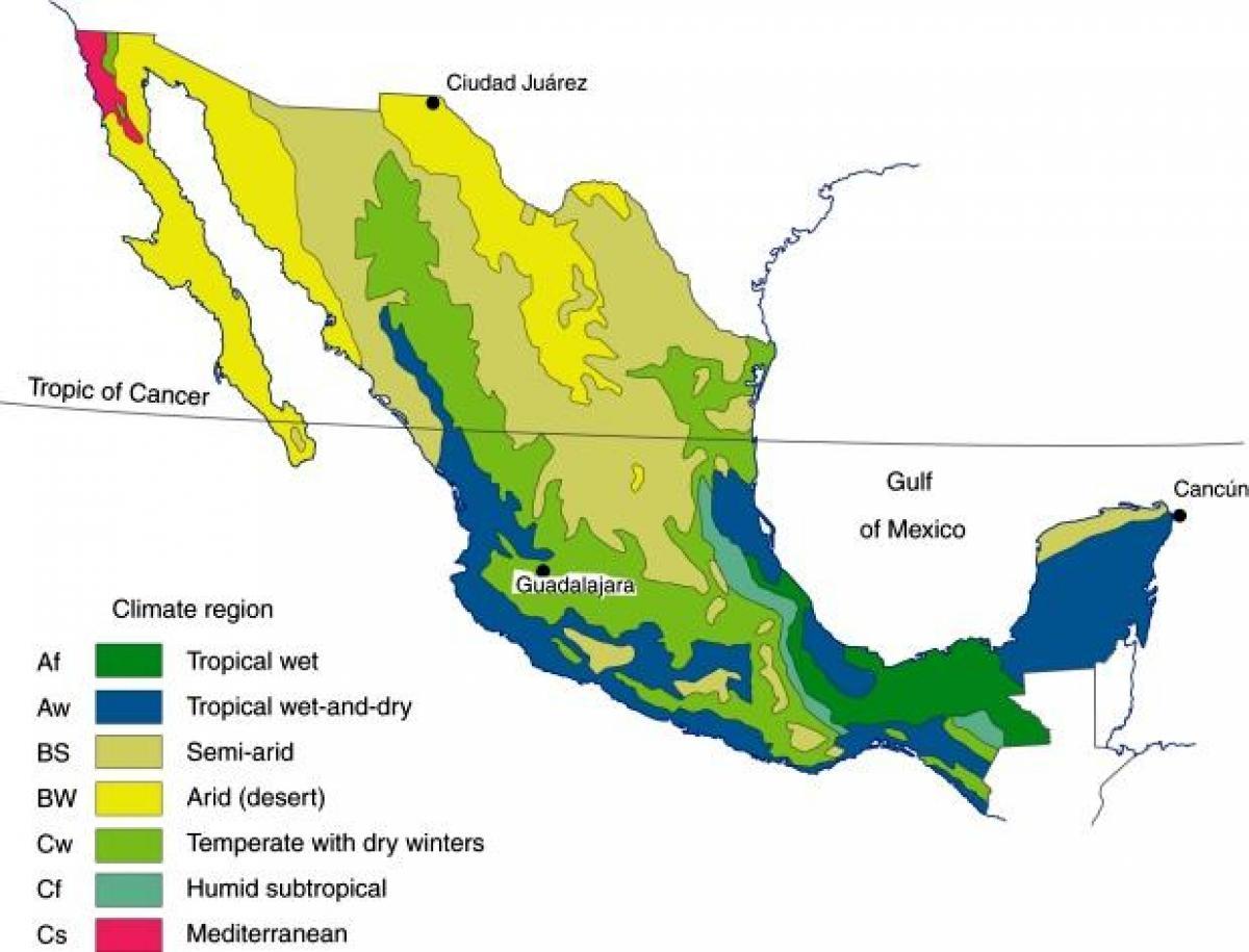 México clima mapa Climático do mapa de cidade do México (América ...